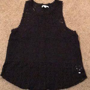 AE black lace sheer tank